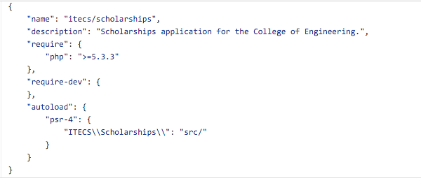 The initial composer.json configuration file.
