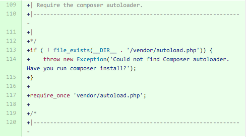 If no file_exists vendor/autoload.php, throw an exception. Otherwise require vendor/autoload.php